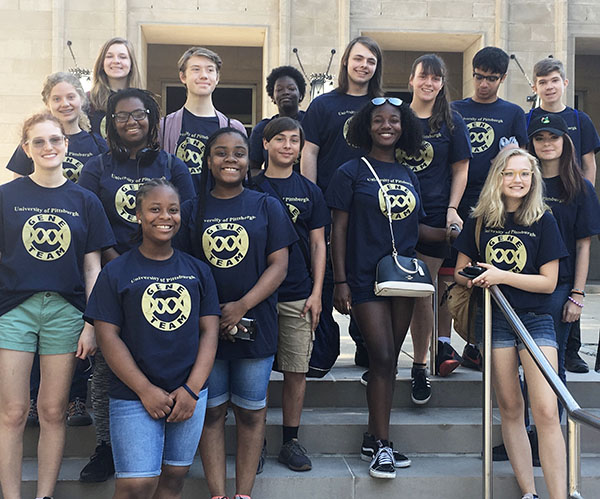University of Pittsburgh Gene Team Photo featuring about 15 students